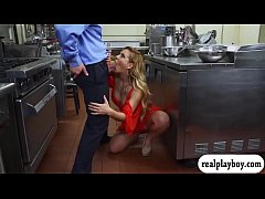 Busty blonde milf pounded in the kitchen