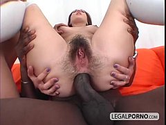 Two sexy brunettes in a threesome with a big bl...