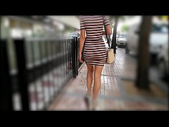Hot Wife Walking In Tight Dress Wiggling Sexy B...