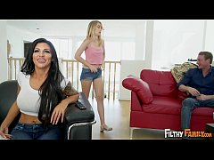 FILTHY FAMILY - While Mom Watches The Game, Daughter Anastasia Knight Sucks Off Step Daddy