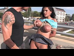 Tied huge tits Romanian brunette babe mouth and pussy fucked till gets facial cumshot on the bridge