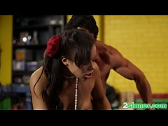 Sinful young ebony hops on hard white dick and cums instantly