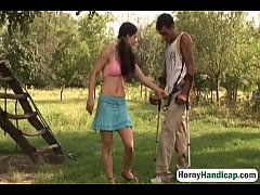 Handicapped Man Gets Lucky Outdoors With Slutty Brunette Chick-1