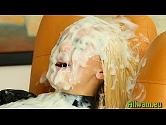 Hot blonde covered in fake cum