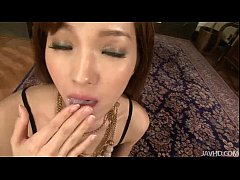 Clip sex Mei in a kinky erotic body suit ends up with a cum filled mouth
