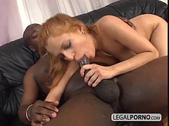 Sexy blonde fucked in the ass by a huge black c...