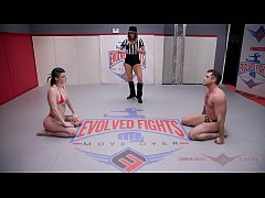 Lydia Black fights in mixed nude wrestling with rough sex with Lance Hart