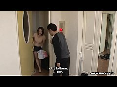 Cleaning lady comes and cleans out the dude's hard cock