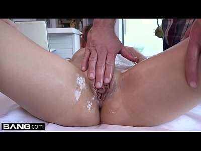 Tiny Pamela Morrison gets an oiled up pussy massage