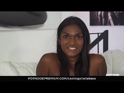 CASTING ALLA ITALIANA - Interracial MMF threesome with gorgeous Indian babe Maya Secret