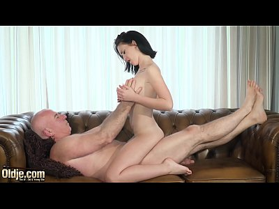 Teen with nice perky tits and shaved pussy fucked by grandpa in old young
