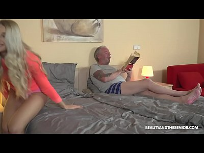Teen blonde loves 69, deepthroat and fucking grandpa