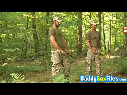 Army daddies teach younger man by invading his asshole deep