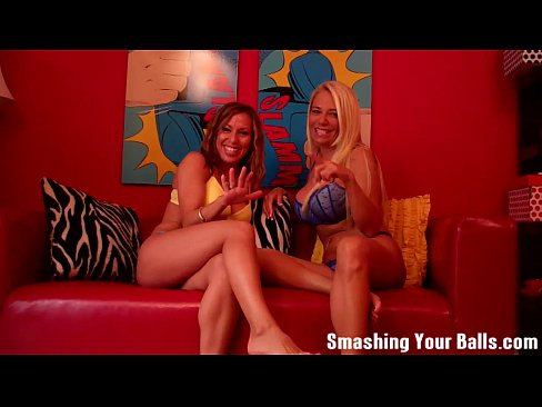 Ballbusting within the balls from two milfs