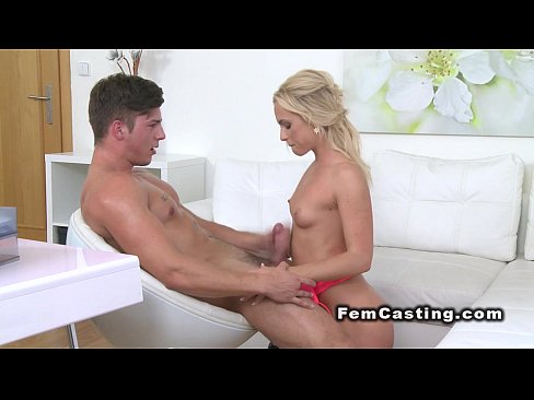 Muscled guy strips and fucks female agent