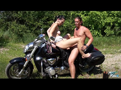 Motorcycles pussy on girl showing