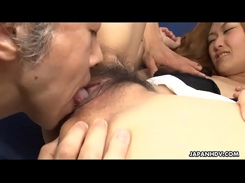 Group of perverts toys Japanese saleswoman's hairy pussy to orgasm