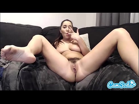 Karlee Grey big tits fingering her wet hairy pussy.