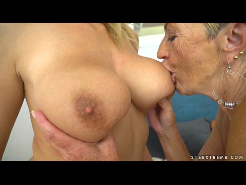 Busty granny and her younger lesbian friend