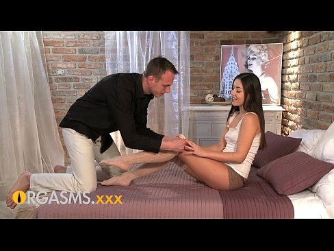 ORGASMS Sexy young brunette worshipped by BF