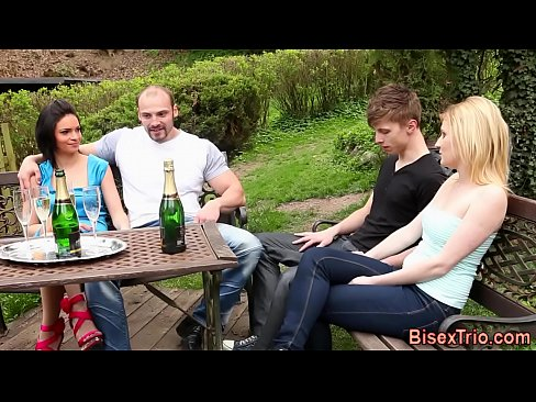 Babes cummed in foursome
