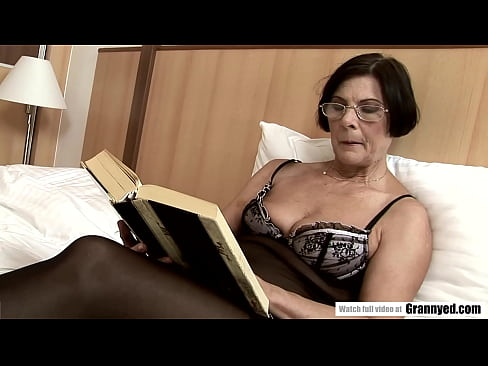 Old Granny Offers Hairy Pussy to young Guy