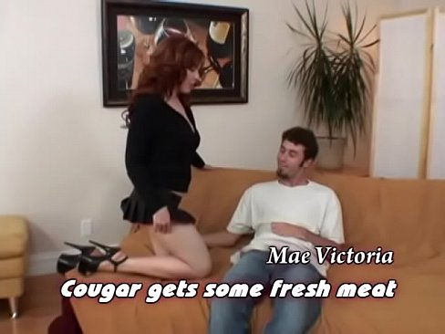 Curvy redheaded MILF Mae Victoria takes big cock in her hairy pussy
