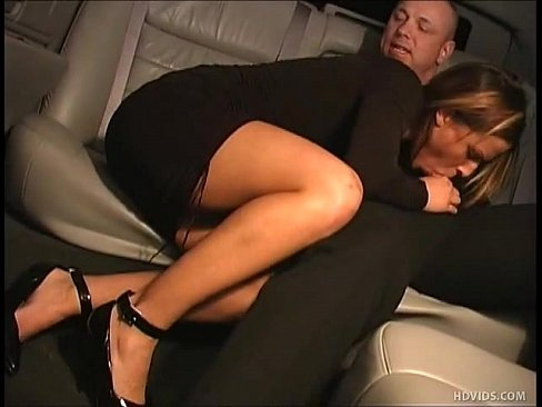 Spoiled rich girl blows limo driver in limousine. (Cum shot in mouth)