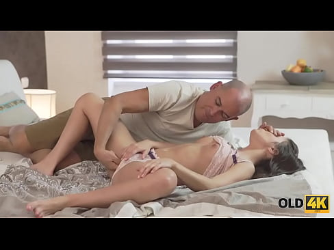 OLD4K. Handsome old man joins aroused babe just in time for anal sex