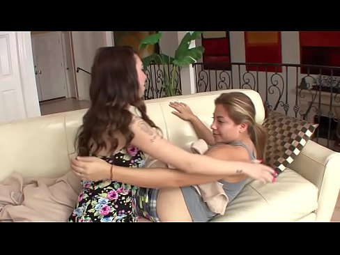 Lesbian friends dirty the couch with their pleasure