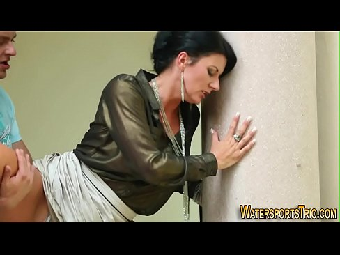 Clothed ho pees over self