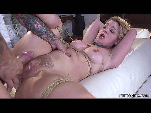Anal fuck and cum in rope bondage