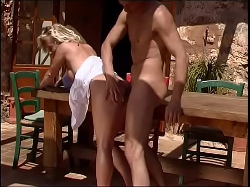 sultry blond female parent takes cum shot on her sweet a cups on the patio