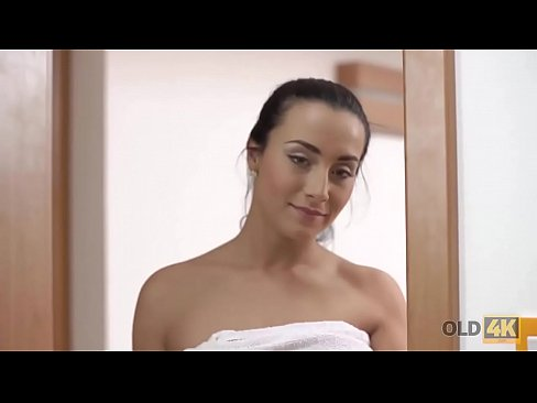 OLD4K. Anna Rose gets horny in shower then plays with old cock