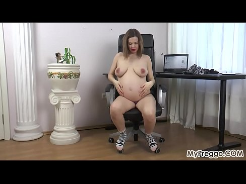 Stripping Bare and Fingering Her Very wet Pregnant cumslut Shaved pussy!