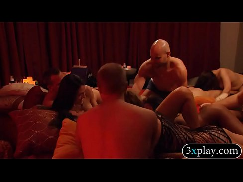 Group of couples massive orgy in the bedroom of Playboy