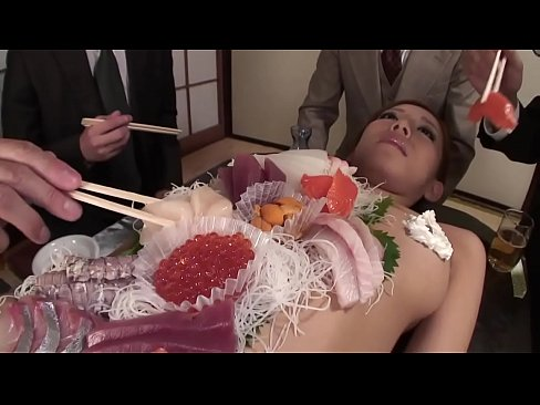 Business men eat sushi out of a naked girl039s body 9