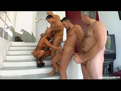 Sandra sucking with facial end group of guys in scene from Cum For Cover