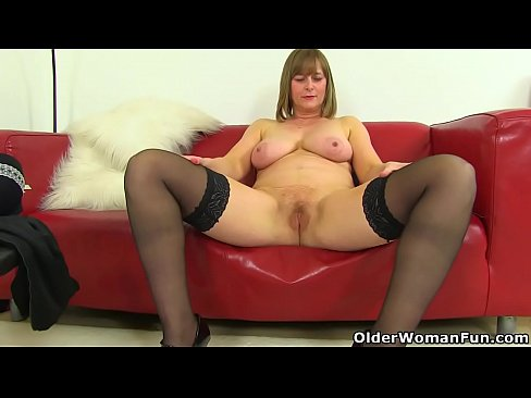 UK milf April'_s finger can barely enter her tight pussy's Thumb