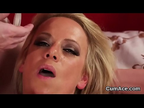 randy hottie gets cum load on her face swallowing all the load
