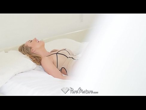 PUREMATURE Mature blonde Brett Rossi fucked after being caught masturbating