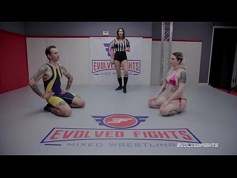 Riley Daniels mixed naked wrestling gets bound and screwed hardcore by Will Havoc at Evolved Fights