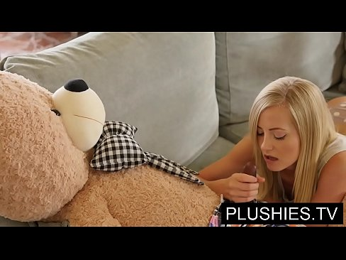 Blonde model Sicilia and Kira Queen sex with teddy bear