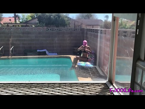 Peeping tom catches babe tanning naked