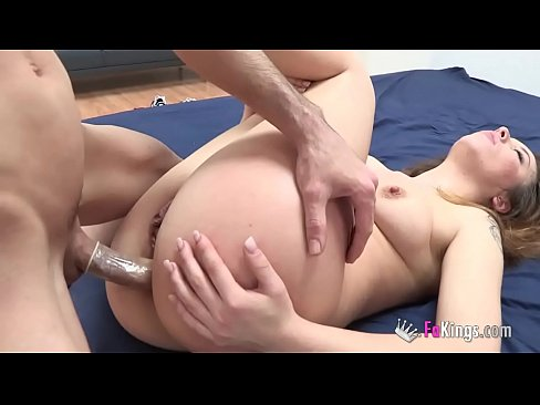 Party slut meets two guys and ends up impaled up her ass and pussy