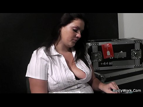 Busty secretary gives head before cock riding