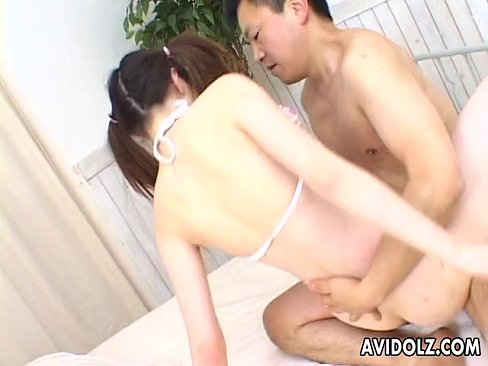 Cute Asian pig tail slut has a hot fuck and she loves it