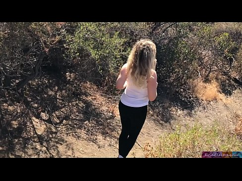 Shooting; blonde creampie'd by personal trainer outdoors - Erin Electra