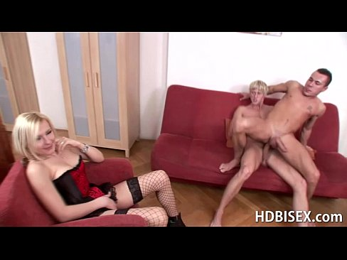 Horny blonde joins two breeding guys