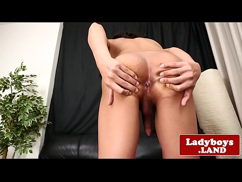 Solo ladyboy tugging and stroking her cock's Thumb